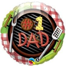 "#1 Dad Grill Foil Balloon (18"") 1pc"