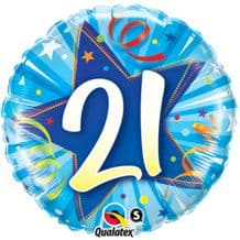 "21 Bright Blue Birthday Foil Balloon (18"") 1pc"