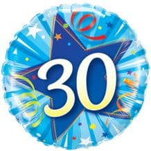 "30 Bright Blue Birthday Foil Balloon (18"") 1pc"