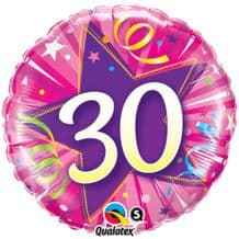 "30 Hot Pink Birthday Foil Balloon (18"") 1pc"