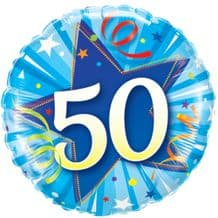 "50 Bright Blue Birthday Foil Balloon (18"") 1pc"