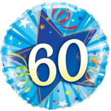 "60 Bright Blue Birthday Foil Balloon (18"") 1pc"