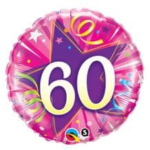 "60 Hot Pink Birthday Foil Balloon (18"") 1pc"