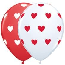 Big Hearts Red & White 50pcs - 11 Inch Balloons