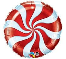 """Christmas Candy Swirl Red Foil Balloon (9"""" Air-Fill) 1pc"""