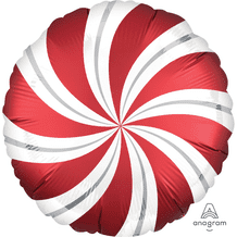 """Christmas Foil Balloon - Satin Red Candy Swirl (18"""") 1pc"""