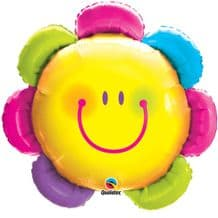 Funny Face Flower Large Foil Balloon 1pc