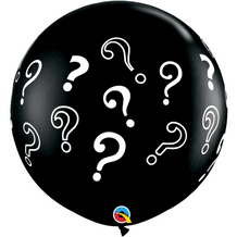 Gender Reveal Balloons - Black 3ft Question Marks Balloon 1pc