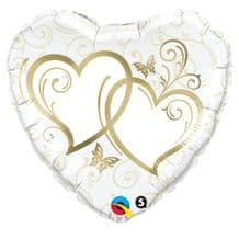 """Gold Entwined Hearts Foil Balloon (18"""") 1pc"""