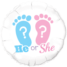 """He or She Footprints Foil Balloon (18"""") 1pc"""