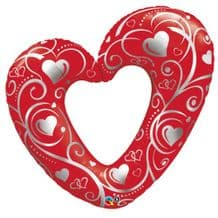 Hearts & Filigree Red Large Foil Balloon 1pc
