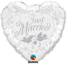 Just Married White Large Foil Balloon 1pc