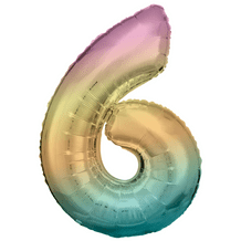 """Riethmuller Pastel Rainbow Number 6 Balloon - 34"""" Number Balloon 1pc"""