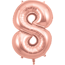 """Rose Gold Number 8 Balloon - Foil Number Balloon 1pc (34"""" Oaktree)"""