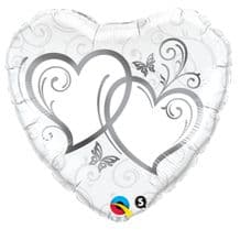 """Silver Entwined Hearts Foil Balloon (18"""") 1pc"""