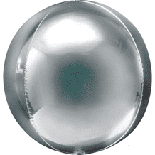"Silver Orbz Balloon (15"") 1pc"