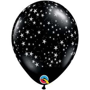 Black Stars-A-Round Latex Balloons   Free Delivery Available