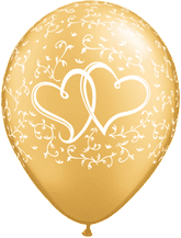 Wedding Balloons Entwined Hrts (Gold) - 11 Inch Balloons 25pcs