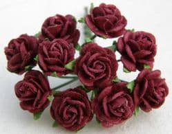 50 Burgandy Mulberry Paper 10mm Tea Roses on wire stems