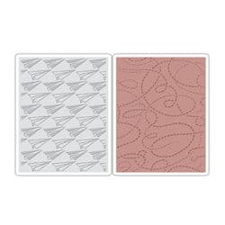 660250 Sizzix Texture Fades Embossing Folders 2PK - Paper Airplane & Dotted Lines Set by Tim Holtz
