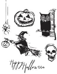 CMS197 Stampers Anonymous Tim Holtz Cling Mounted Stamp Set -  Carved Halloween