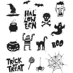 CMS349 Tim Holtz Cling Mounted Stamp Set - Spooky Scribbles