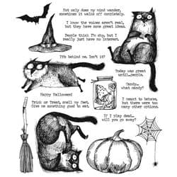 CMS407 - Stampers Anonymous Tim Holtz Cling Mounted Stamp Set -  Snarky Cat Halloween