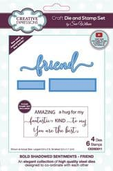 Creative Expressions - Bold Shadowed Sentiments Craft Die and Stamp Set - Friend By Sue Wilson