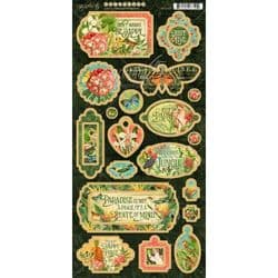 Graphic 45 - Lost in Paradise - Die-Cut Decorative Chipboard Sheet