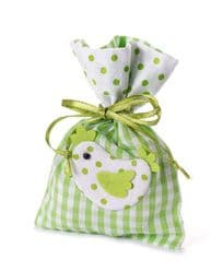Green White Checkered Fabric Bag