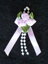 Lilac Ribbon Rose Posies - Pkt 10