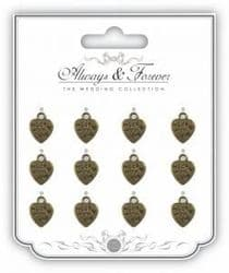 Metal Vintage Heart Charm - Always & Forever - The Wedding Collection - Made with Love