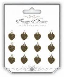 Metal Vintage Heart Charm - Always & Forever - The Wedding Collection - Thank you