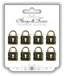 Metal Vintage Lock Charms Medium - Always & Forever - The Wedding Collection - Pkt 8