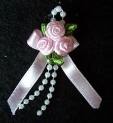 Pink Ribbon Rose Posies - Pkt 10