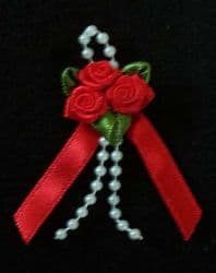 Red Ribbon Rose Posies - Pkt 10