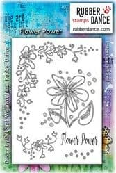 Rubber Dance Unmounted Stamp Set - Flower Power by Deborah Wainwright