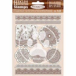 Stamperia - 14 x 18 cm HD Natural Rubber Stamp - Passion Lace