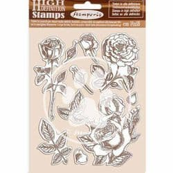 Stamperia - 14 x 18 cm HD Natural Rubber Stamp - Passion Rose