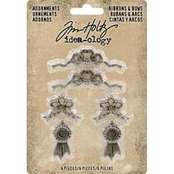 TH93686 Tim Holtz® Idea-ology™ Metal Adornments 6/Pkg Ribbons & Bows