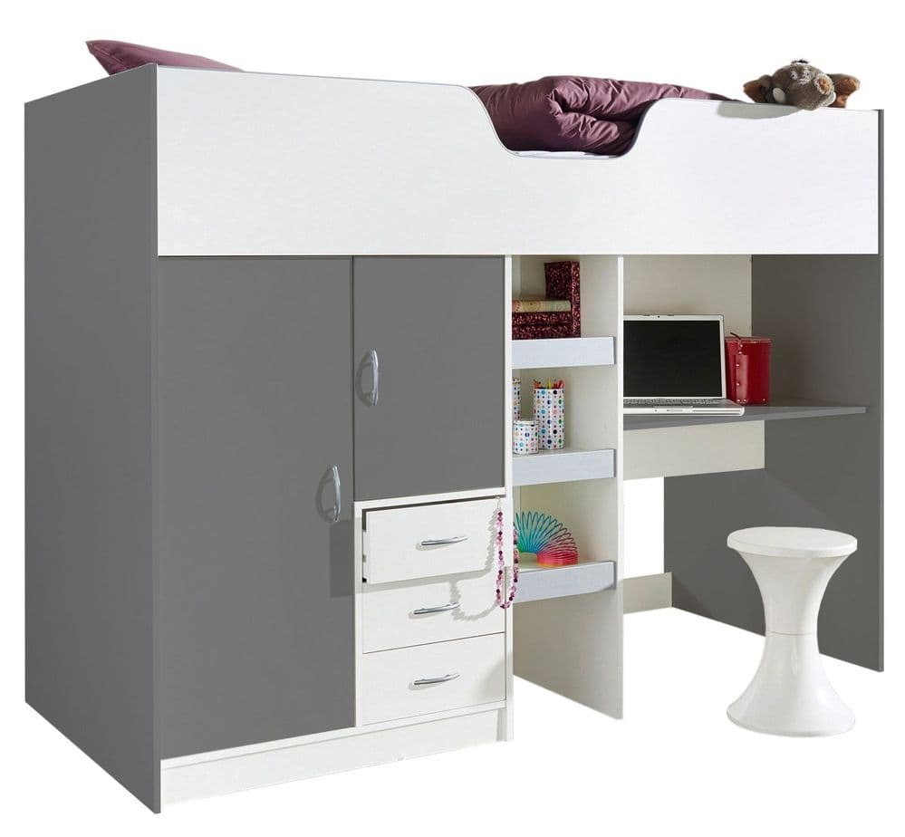 Bourne High Sleeper Cabin Bed Grey/White