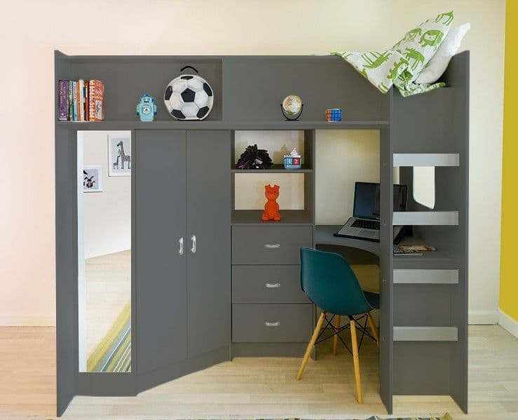 High Sleeper Cabin bed with  Colour options ideal childrens safe  bed with wardrobe and desk drawers Stamford