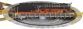 9152C Fleischmann: Turntable, with individual electrically switchable track exits