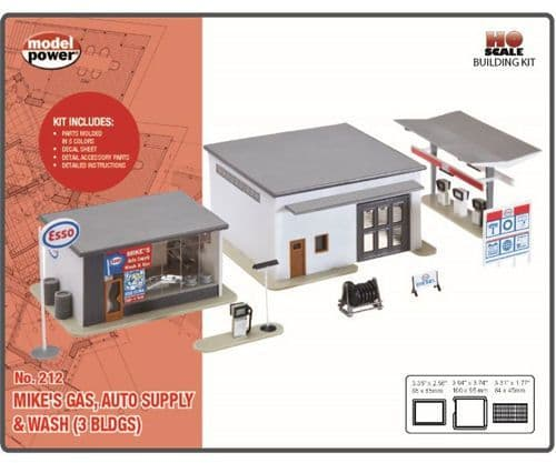 Model Power212 Mike's Gas Auto Supply & Wash Building Kit