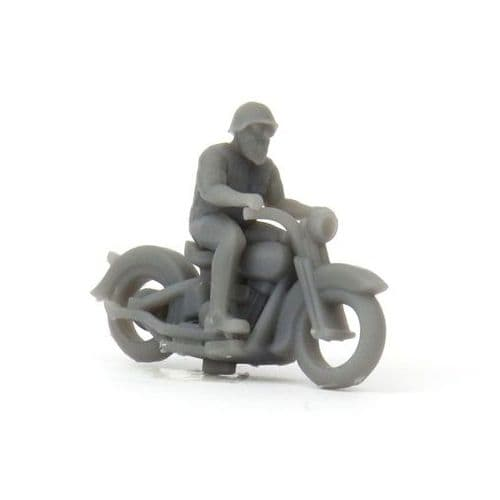 OSBF072 HO Scale (1/87) Knucklehead motorcycle with rider (unpainted)