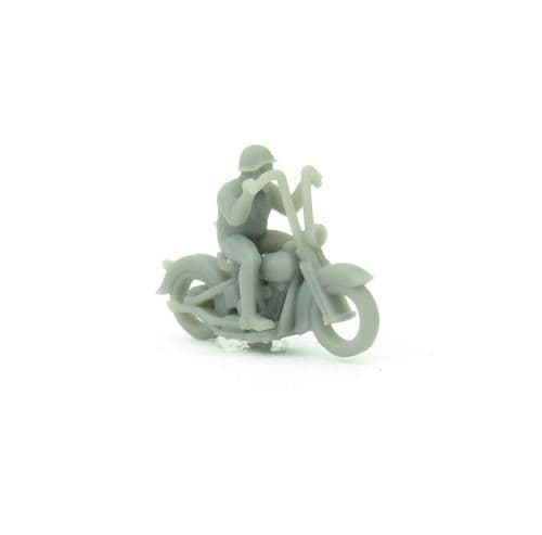 OSBF074 HO Scale (1/87) Knucklehead motorcycle with rider (unpainted)