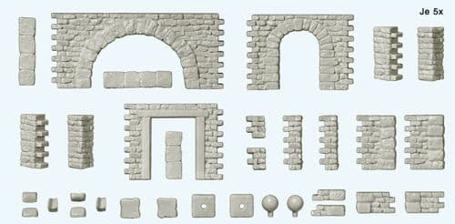 Preiser 18217  Quarrystone Walls with Doors & Arches