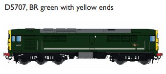 Rapido 905504 Class 28 MV 'CO-BO'  D5707, BR green with yellow ends DCC Sound fitted