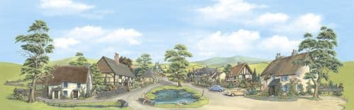 SK-35 / SK-15 Peco: 'MANYWAYS' SCENIC BACKGROUNDS Village with Pond