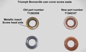 Modified TRIUMPH Cam Cover Bolt Seal: OEM# T1260337 (Sold Individually)